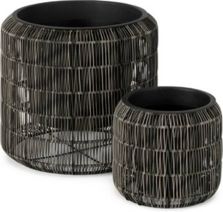 An Image of Nadda Set of 2 Round Polyrattan Plant Stands, Brown