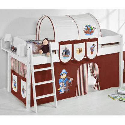 An Image of Lilla Children Bed In White With Pirate Brown Curtains