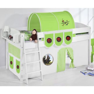 An Image of Lilla Children Bed In White With Dragons Green Curtains
