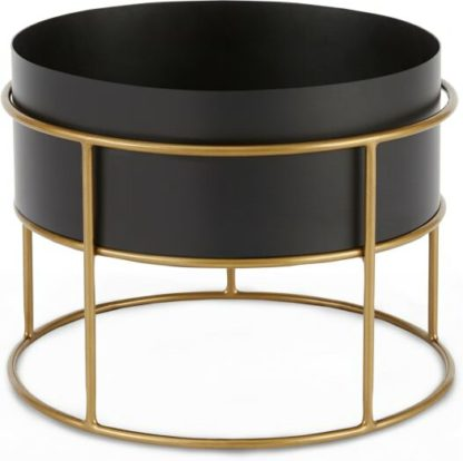An Image of Echo Free Standing Round Low Powdercoated Plant Stand, Black & Metallic Gold