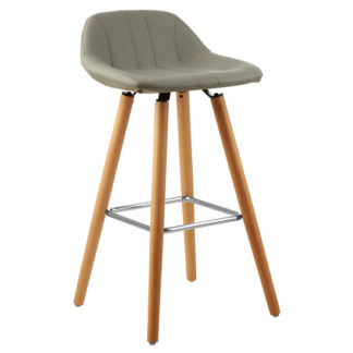 An Image of Porrima Faux Leather Bar Stool In Grey
