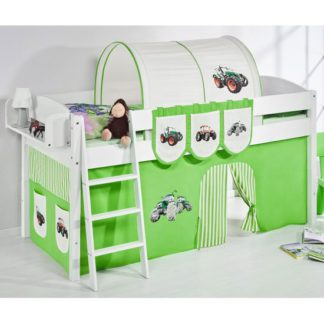 An Image of Lilla Children Bed In White With Tractor Green Curtains