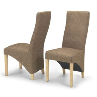 An Image of Devon Brown Tweed Dining Chairs In A Pair With Natural Legs