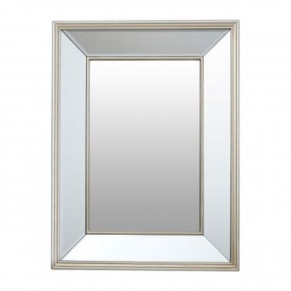 An Image of Tiffani Rectangular Wall Bedroom Mirror In Silver Frame