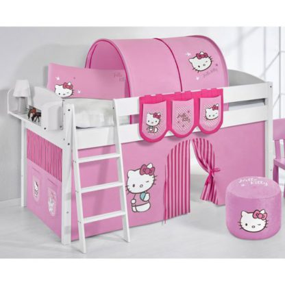 An Image of Lilla Children Bed In White With Kitty Pink Curtains