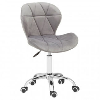 An Image of Sitoca Velvet Home And Office Chair In Grey With Swivel Base