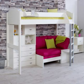An Image of Nova F Childrens Highsleeper Bed with Chest, Bookcase and Futon