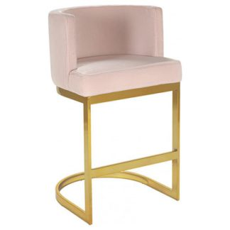 An Image of Lauro Pink Velvet Bar Chair With Gold Stainless Steel Legs