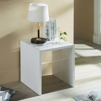 An Image of Arden Contemporary Lamp Table Square In White High Gloss