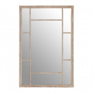 An Image of Zaria Rectangular Panelled Wall Bedroom Mirror In Silver Frame