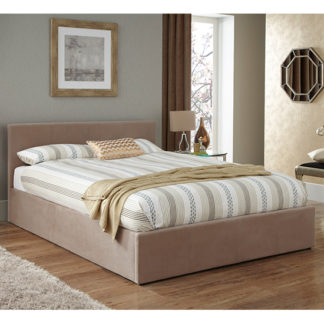 An Image of Evelyn Latte Fabric Upholstered Ottoman Double Bed
