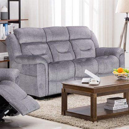 An Image of Dudley Fabric Upholstered Fixed 3 Seater Sofa In Nett Grey