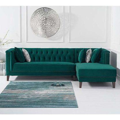 An Image of Tislit Velvet Right Facing Chaise Sofa Bed In Green