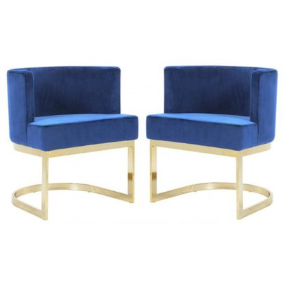 An Image of Lauro Blue Velvet Dining Chairs In Pair With Gold Legs