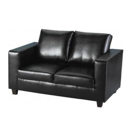 An Image of Tempo 2 Seater Sofa In A Box Made of Black Faux Leather