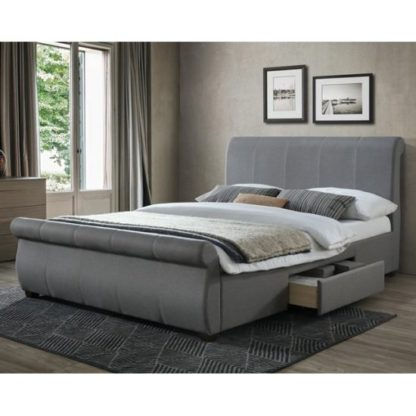 An Image of Melrose Fabric Double Bed In Grey With 2 Drawers