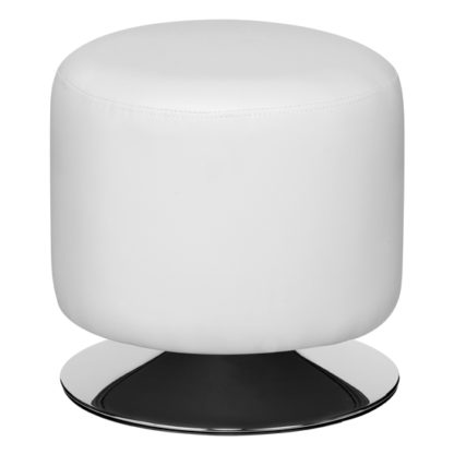 An Image of Ceko Faux Leather Cylinder Stool In White