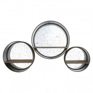 An Image of Toronto Set Of 3 Wall Bedroom Mirrors In Matte Silver Frame