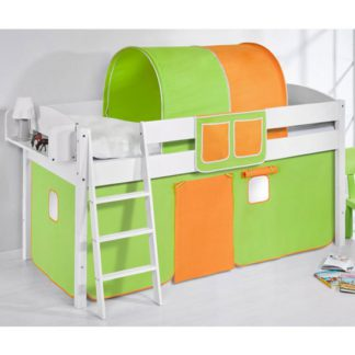 An Image of Lilla Children Bed In White With Green Orange Curtains