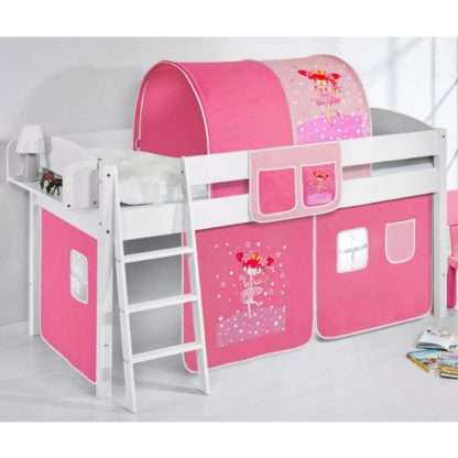 An Image of Lilla Children Bed In White With Princess Curtains