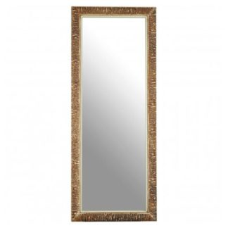 An Image of Zelman Wall Bedroom Mirror In Champagne Ridged Frame