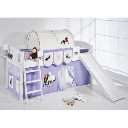 An Image of Lilla Slide Children Bed In White With Horses Purple Curtains