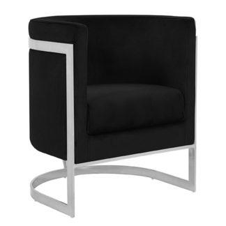 An Image of Fenda Velvet Armchair In Black With Silver Stainless Steel Legs