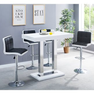 An Image of Caprice Glass Bar Table In White With 4 Black White Copez Stools