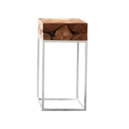 An Image of Teak Root Side Table with White Metal Frame