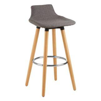 An Image of Porrima Fabric Seat Bar Stool In Grey
