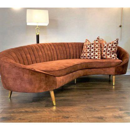 An Image of Camari Velvet 3 Seater Sofa In Vintage Burnt Orange