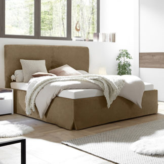 An Image of Civics Faux Leather Double Bed In Tobacco Effect