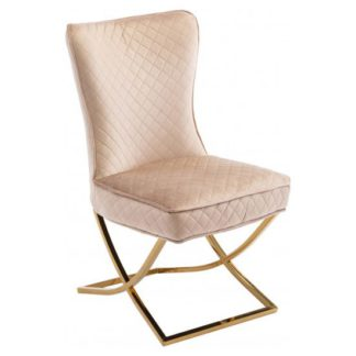 An Image of Lorenzo Brown Velvet Dining Chair With Gold Legs