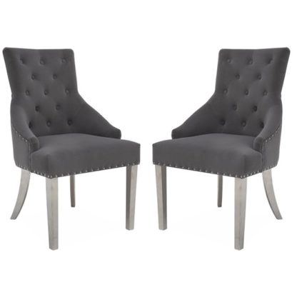 An Image of Estela Knockerback Grey Velvet Dining Chairs In Pair