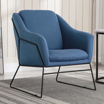 An Image of Karl Fabric Upholstered Accent Chair In Woven Blue