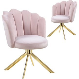 An Image of Mario Pink Velvet Dining Chairs In Pair With Gold Legs