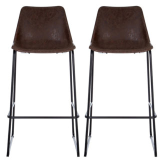 An Image of Kekoun Vintage Mocha Faux Leather Bar Stools In Pair