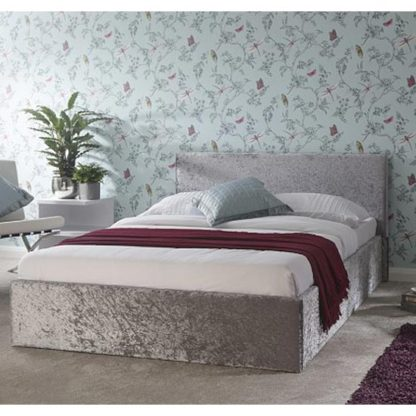 An Image of Side Lift Ottoman Wooden Double Bed In Silver