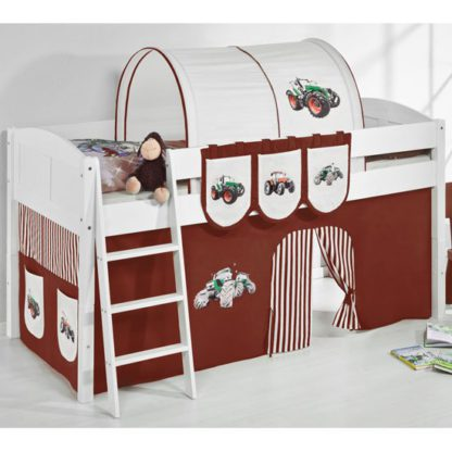 An Image of Hilla Children Bed In White With Tractor Brown Curtains