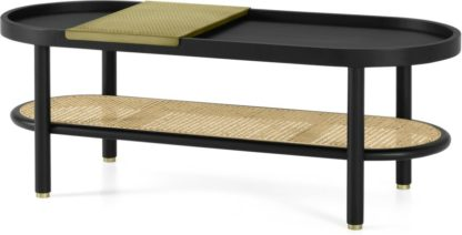 An Image of Ankhara Coffee Table, Black Stained Oak & Cane