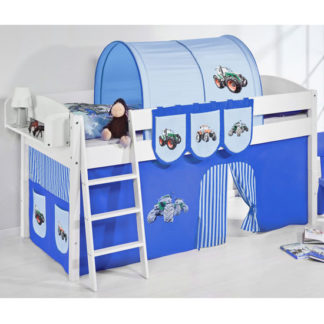 An Image of Lilla Children Bed In White With Tractor Blue Curtains