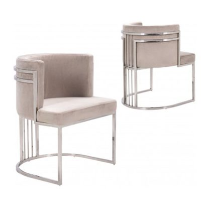 An Image of Casoli Beige Velvet Dining Chairs In Pair With Silver Legs