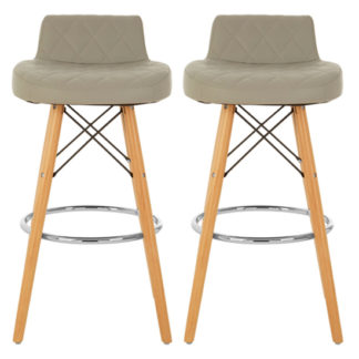 An Image of Porrima Grey Faux Leather Bar Stools With Natural Legs In Pair
