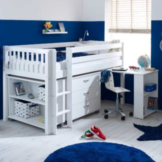 An Image of Ferdie Childrens Midsleeper Bed with pull out Desk, Chest and Bookcase