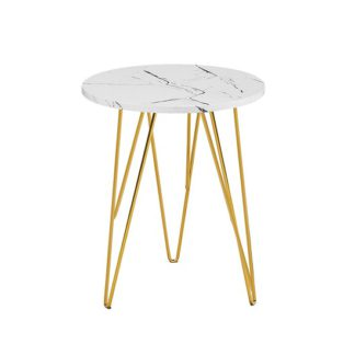 An Image of Kerlin Round Lamp Table In White Marble Effect With Metal Base
