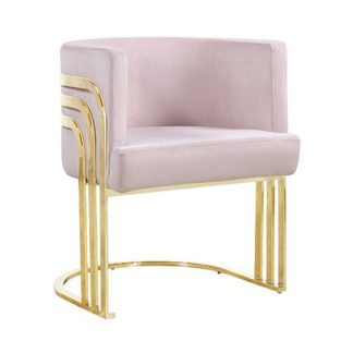 An Image of Lula Pink Velvet Dining Chair With Gold Stainless Steel Legs