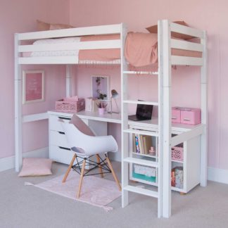An Image of Buddy Childrens Beech Highsleeper Loft Bed With Full Length Desk, Storage Bookcase and Chest of Drawers