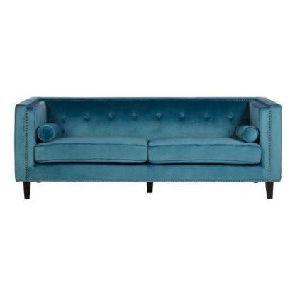 An Image of Felisen Velvet Upholstered 3 Seater Sofa In Blue