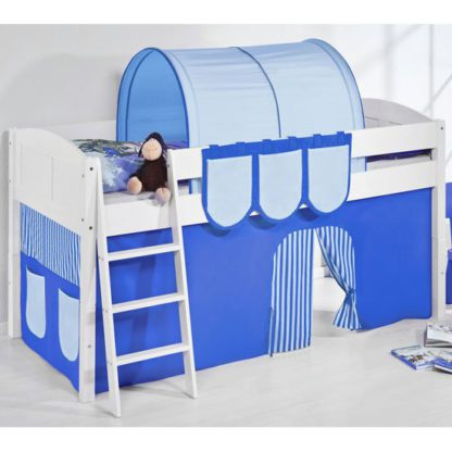 An Image of Hilla Children Bed In White With Blue Curtains