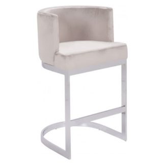 An Image of Lauro Beige Velvet Bar Chair With Silver Stainless Steel Legs